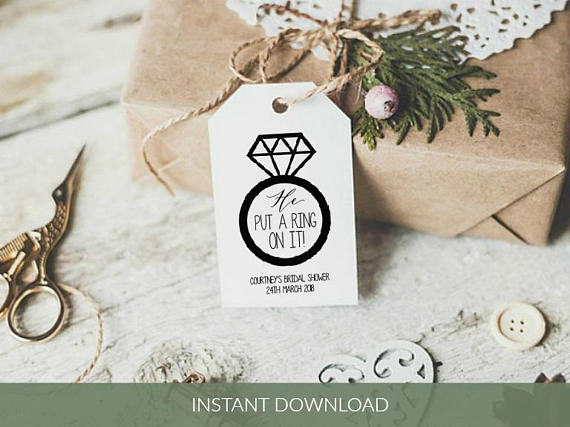 Free Printable Wedding Gift Tags Templates: Printable Bridal Shower Tag Template, He Put A Ring On It