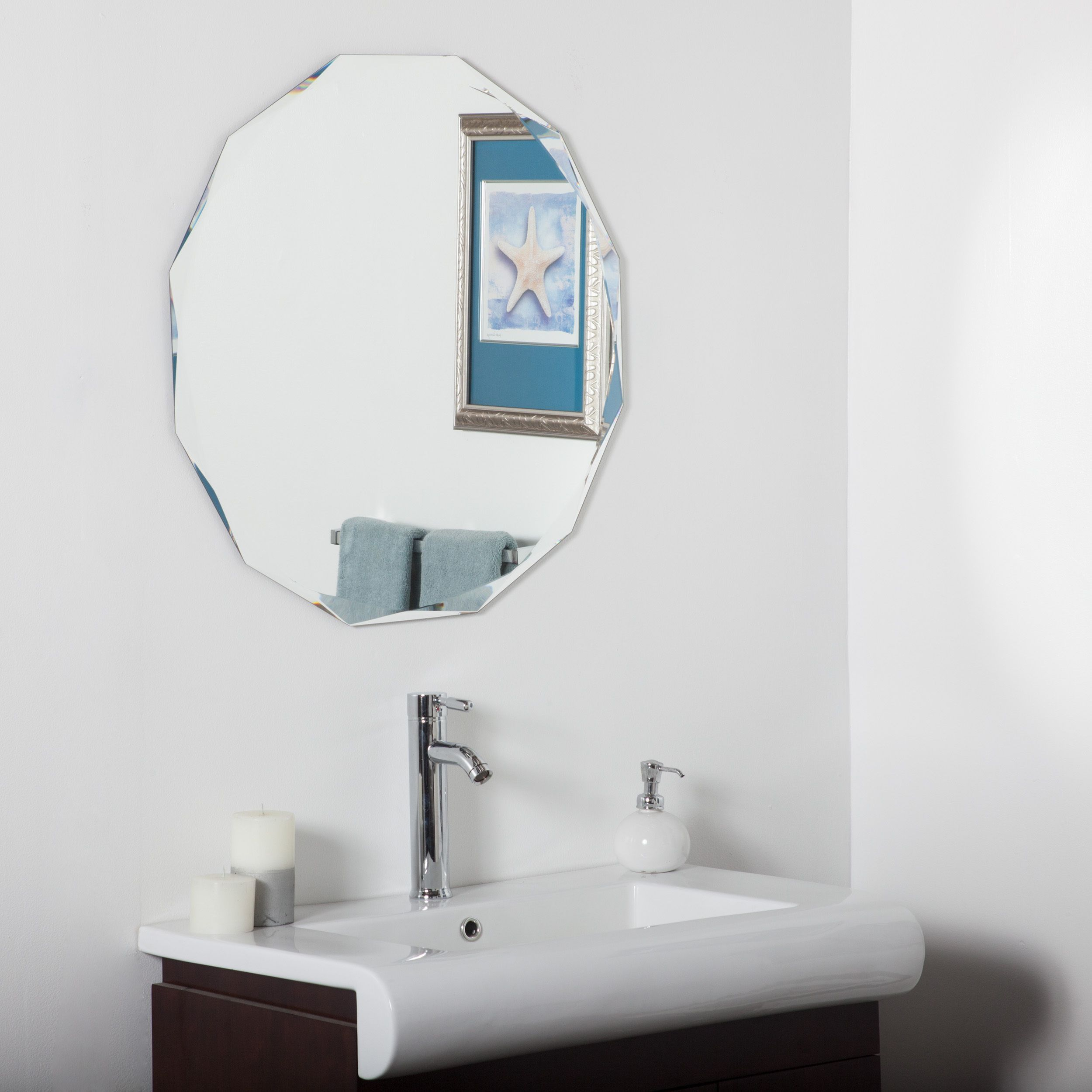 This Round Frameless Wall Mirror Has Unique Double Angle Bevels