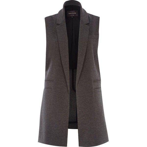 e8de0b4a8feeb River Island Dark grey jersey sleeveless jacket (79 CAD) ❤ liked on  Polyvore featuring