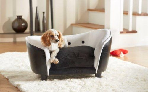 Deluxe Ultra Plush Snuggle Bed Dog Sofa – Black and White PU (D34803/H)