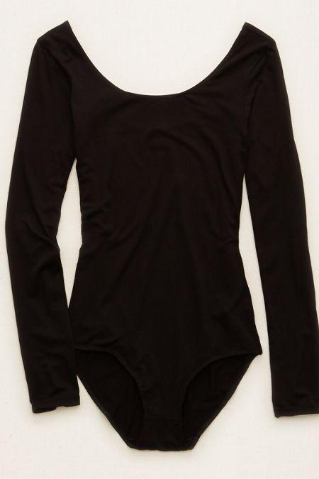 700f43f2dd Aerie Long Sleeve Bodysuit , True Black | Aerie for American Eagle ...