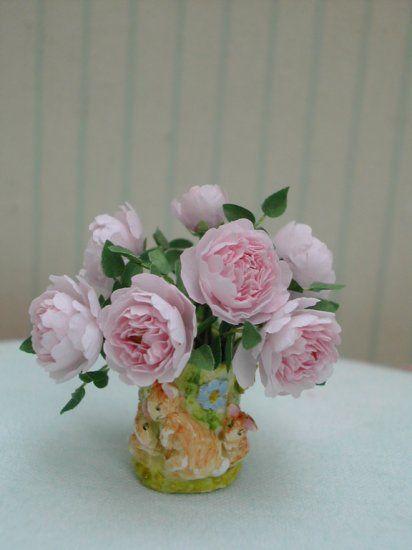 Dollhouse 1:12 Scale Mini Decoration Pink Flower Flowerpot 09937