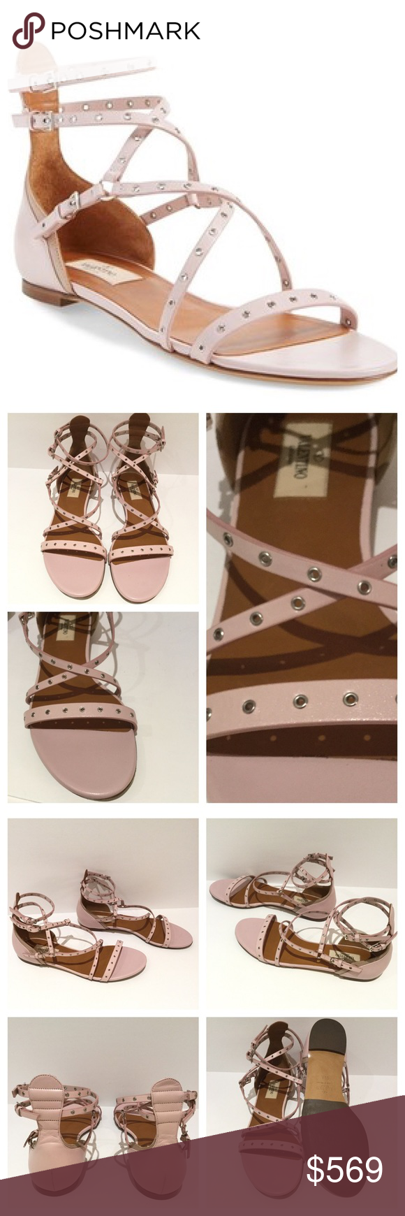 VALENTINO LOVE 'LATGH' STRAPPY GROMMET SANDALS. New Without Tags Polished grommets and sleek buckles add a bit of edge to strappy sandals done in a blush pink hue. A contrast inset along the heel counter beautifully plays up the style's curvy silhouette. Adjustable straps with buckle closures.  EU SIZE 38 1/2.  Bottom Soles / Heel Have Been Partially Refinished to Prevent Store Return. Leather upper and lining.  Made in Italy.       Notes: Valentino shoes run 1/2 smaller…