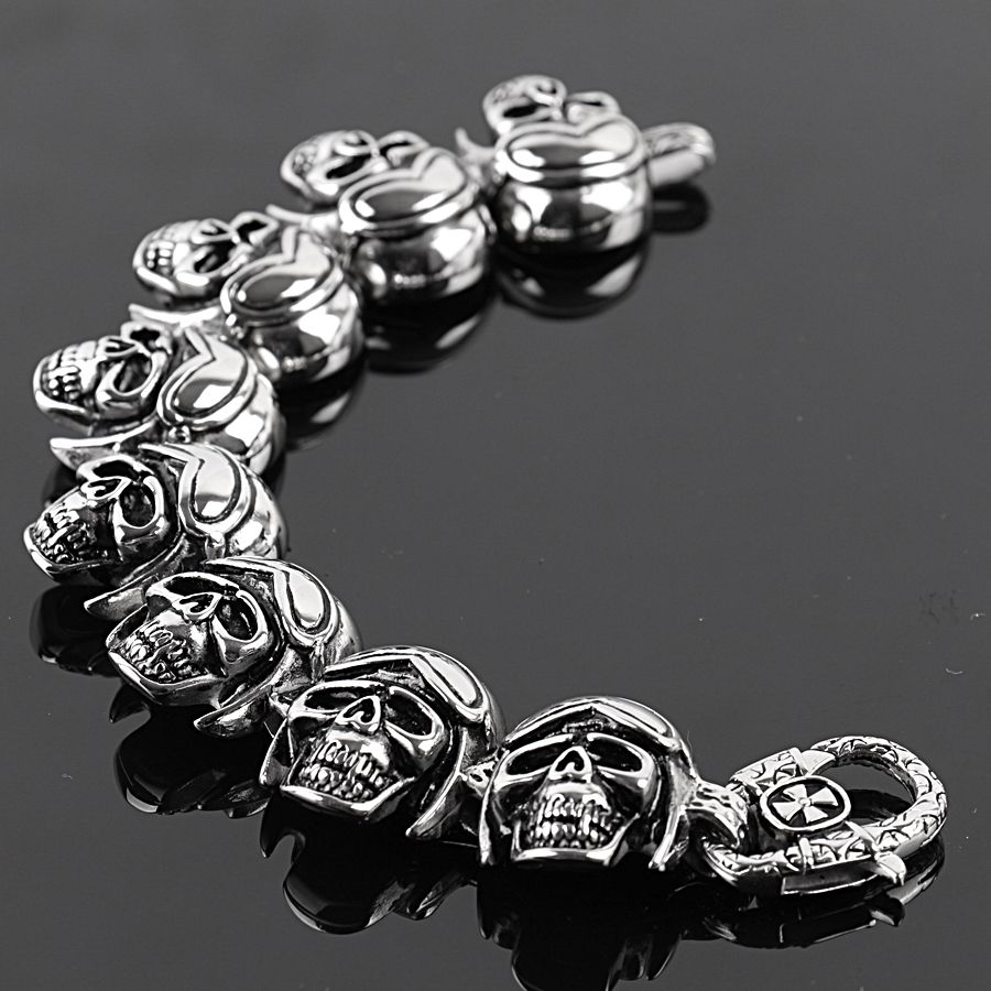 Top quality gothic style skull bracelet l stainless steel hot