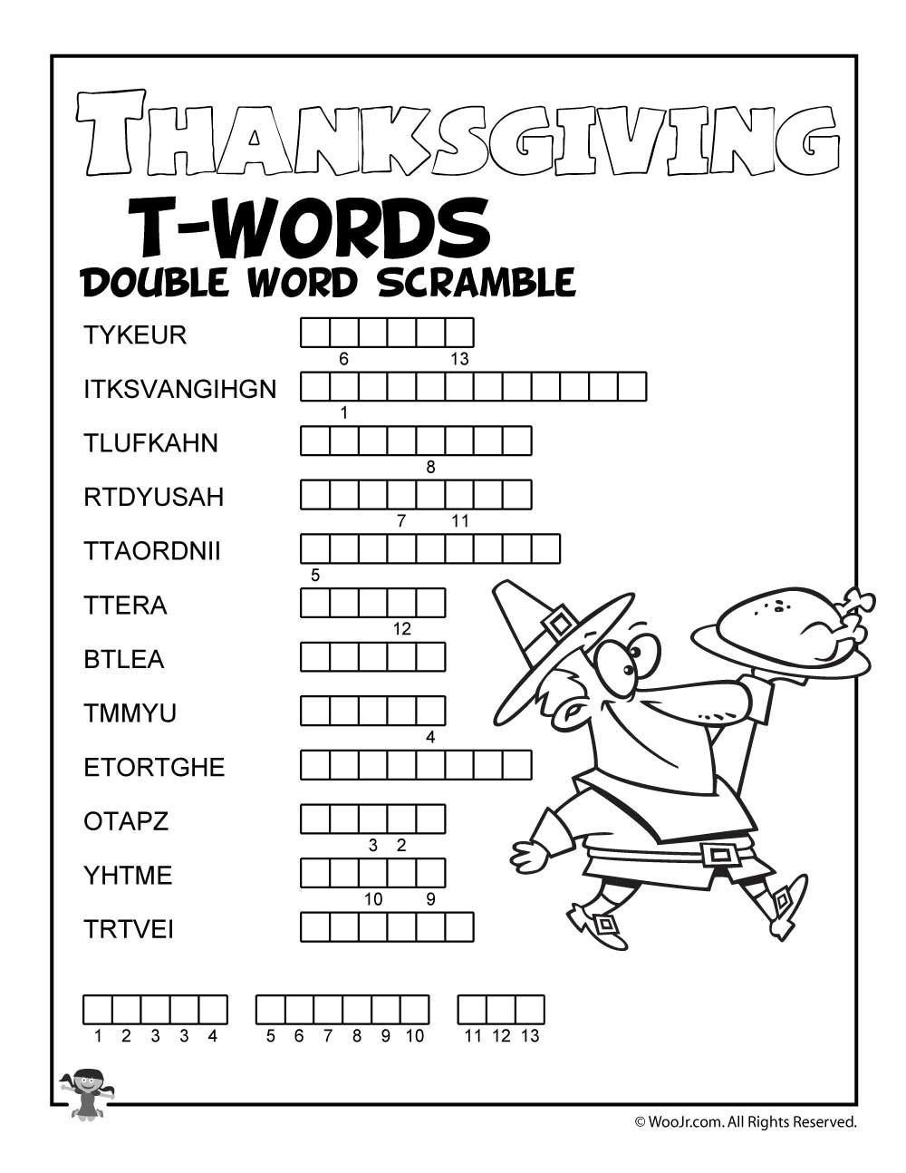 Thanksgiving Letter T Words Scramble   Woo! Jr. Kids Activities    Thanksgiving words [ 1294 x 1000 Pixel ]