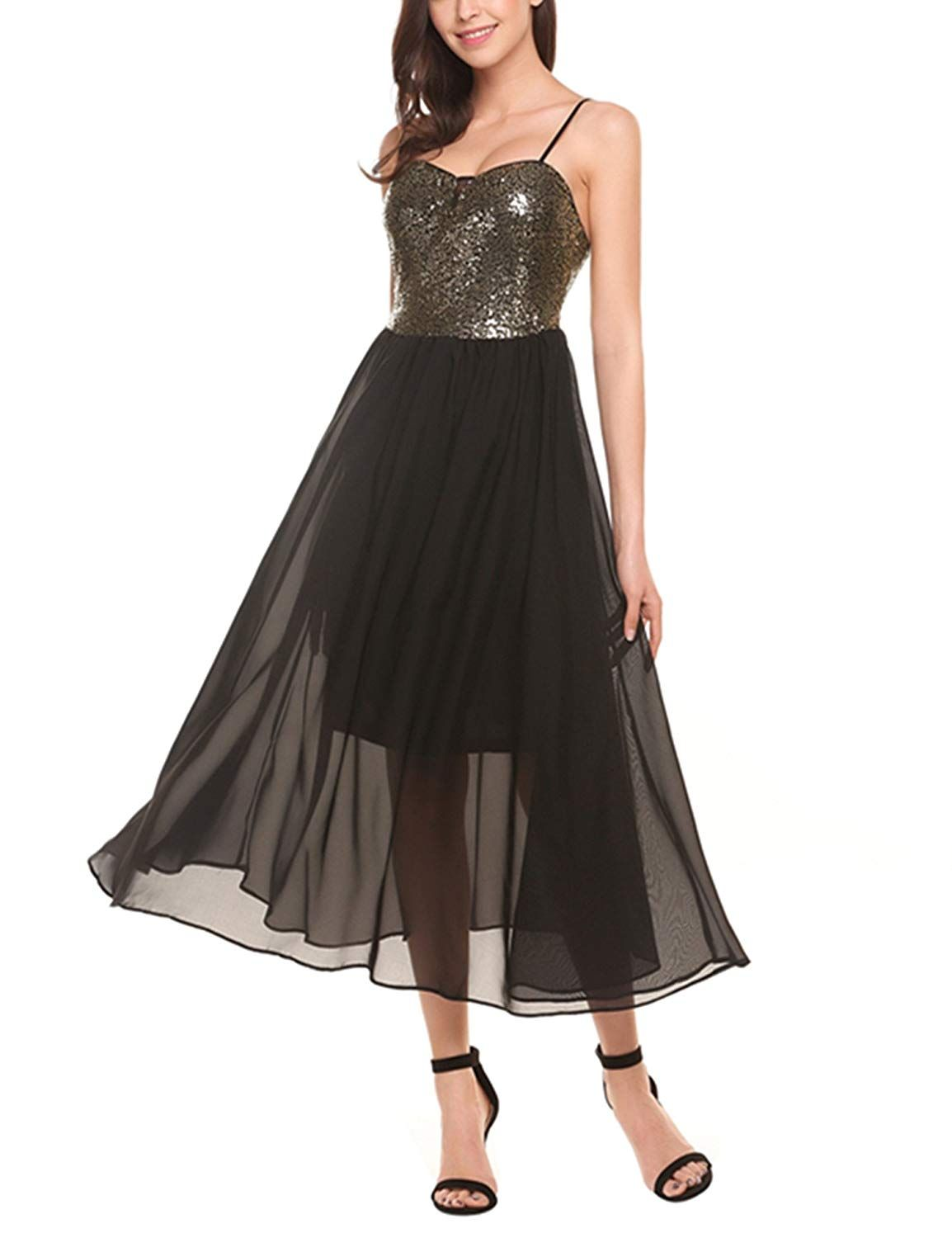 cc46dd984d19 ACEVOG Women s Sexy Backless Chiffon Sequins Top Evening Party Gowns Prom  Dress   Learn more by visiting the image link. (This is an affiliate link)    ...