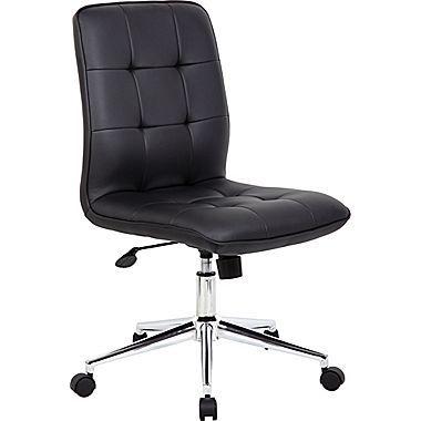 Boss Modern Fabric Executive Office Chair Armless Black B330 Bk At Staples Modern Office Chair Black Office Chair Office Chair
