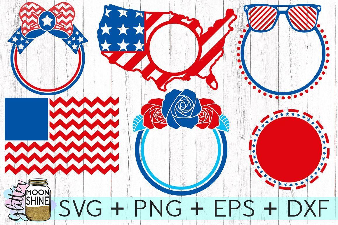4th Of July Monogram Frame Bundle of 6 SVG DXF PNG EPS