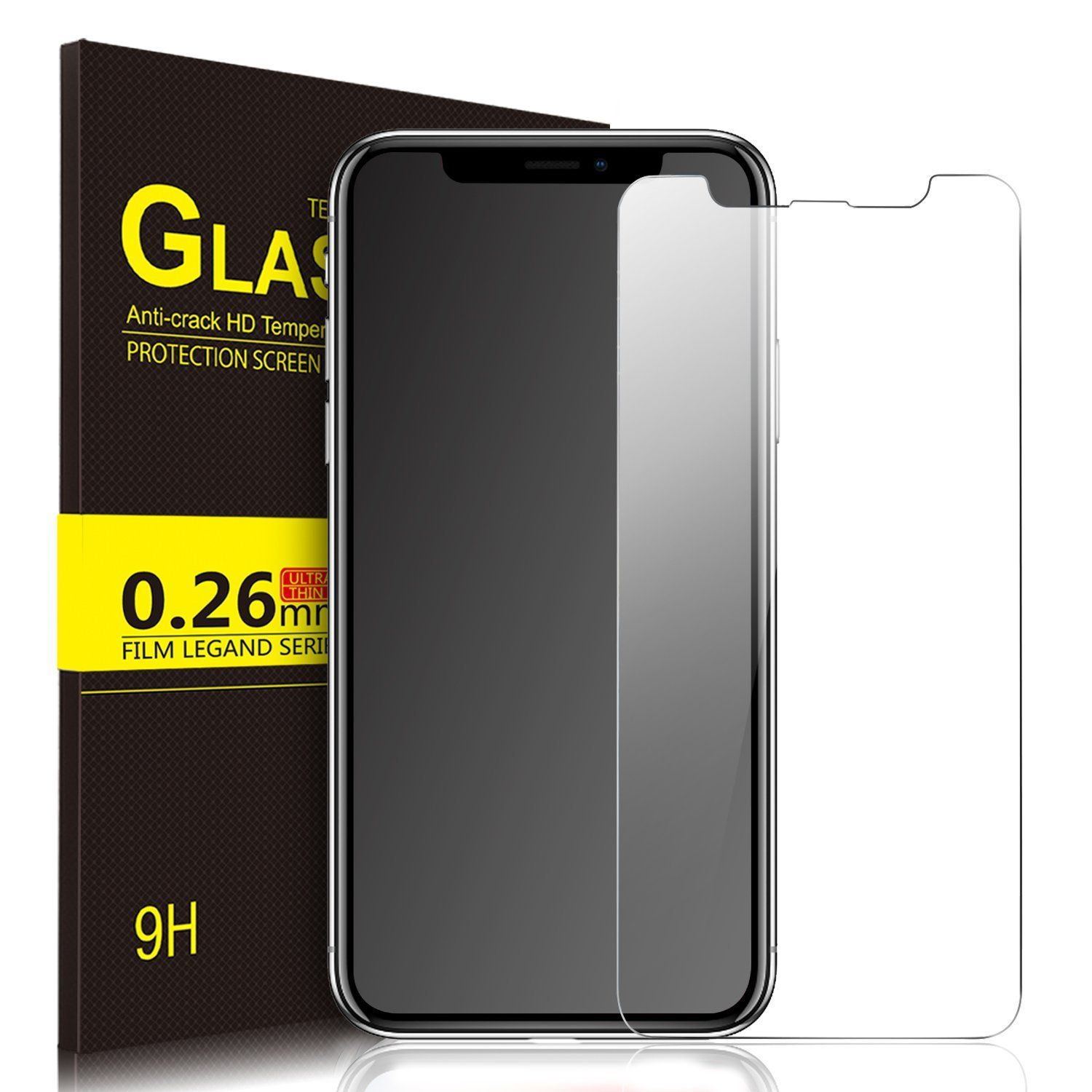 reputable site e933e dccf9 IVSO iPhone X Tempered-Glass Screen Protector, [Crystal Clearity ...