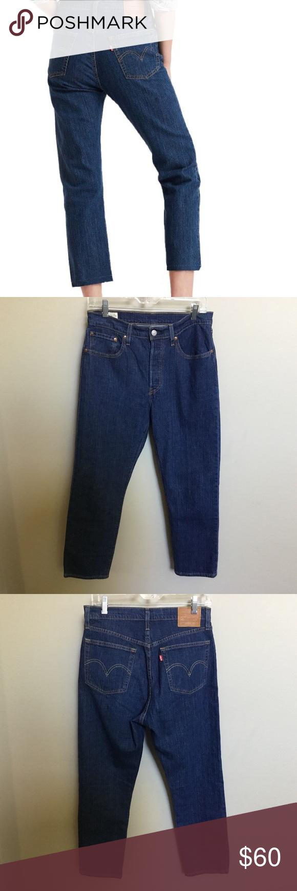 NWOT $104 LEVI'S 501 Original Crop Blue Jean 28 Levis 501