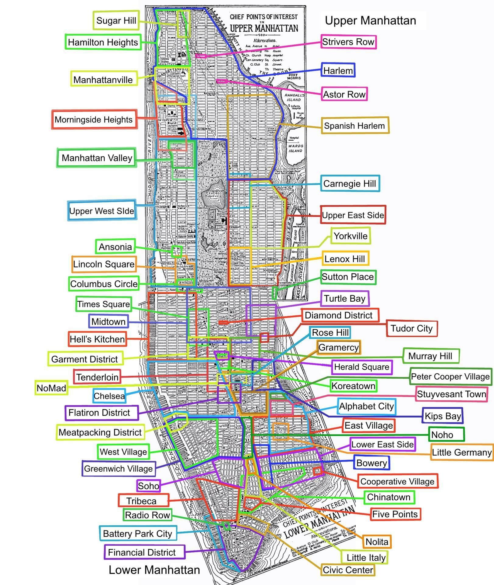 Neighborhoods of New York City (With images) Manhattan