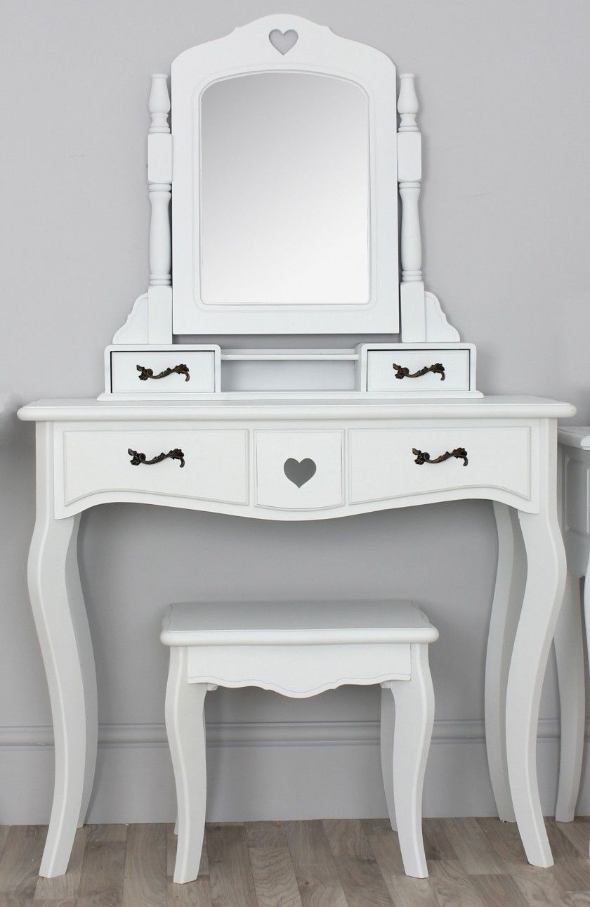 Bedroom, Antique Bedroom Vanity With Mirror Bring Romantic Nuance Antique  White Polished Wooden Makeup Table - Bedroom, Antique Bedroom Vanity With Mirror Bring Romantic Nuance