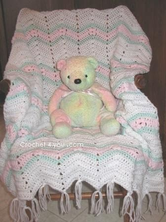 Free Crochet Baby Ripple Afghan With Flowers Pattern Free Baby