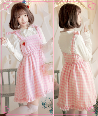 Japanese sweet lolita strawberry pink strap dress