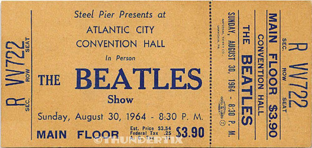 1 BEATLES VINTAGE UNUSED FULL CONCERT TICKET 1964 Atlantic City - concert ticket invitation template
