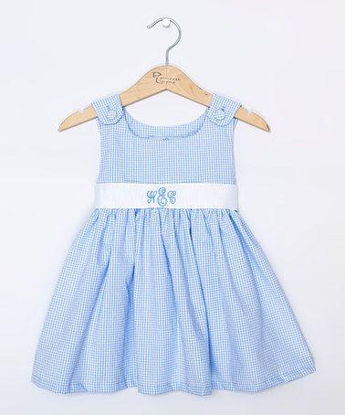 Blue Gingham Dress Monogram Dress - Infant, Toddler & Girls by Princess Linens #zulily #zulilyfinds
