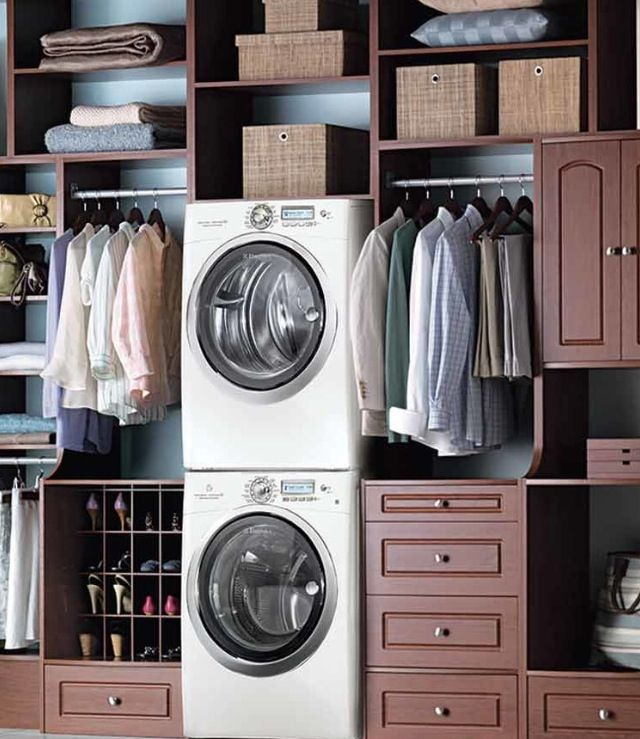 Stacking Full Size Washer And Dryer In Master Closet Must Have Laundry Room Closet Master Bedroom Closet Closet Bedroom