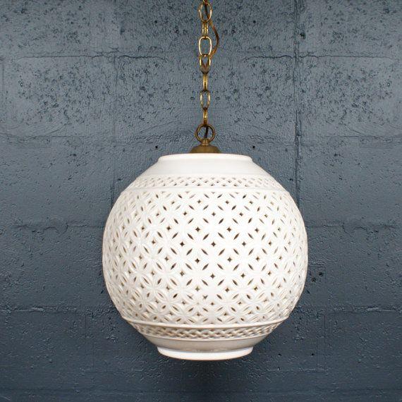 1960s 70s White Pierced Ceramic Hanging Lamp On Etsy 375