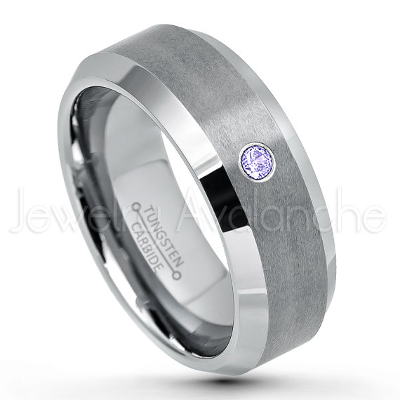 December Birthstone Ring 0.07ct Tanzanite Solitaire Birthstone Ring 2-Tone Black Ion Plated Beveled Edge Comfort Fit Tungsten Carbide Wedding Band