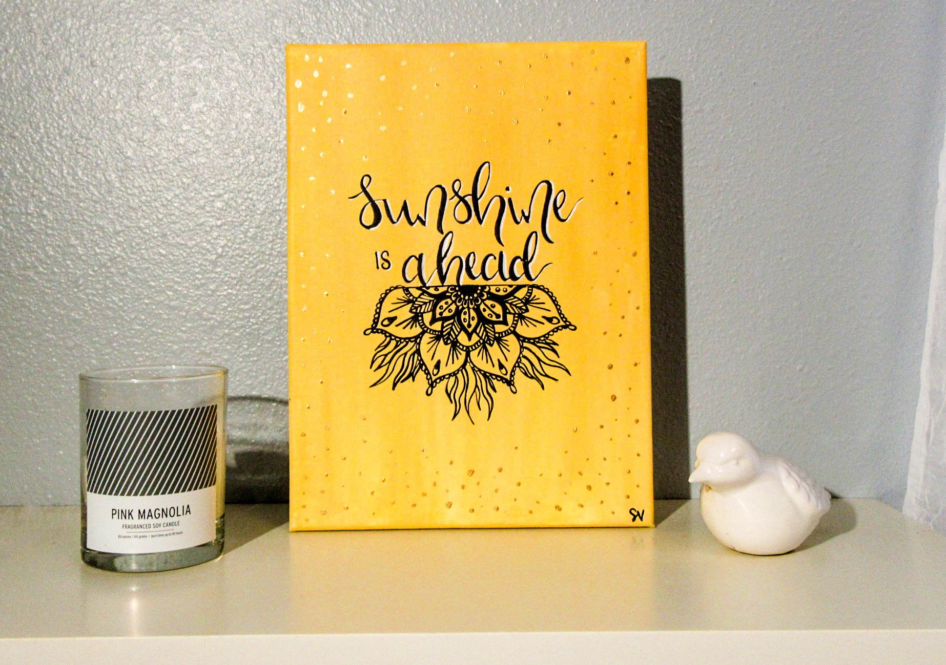 Sunshine AheadHandlettered Canvas Quote Painting Wall Art Wall Room ...