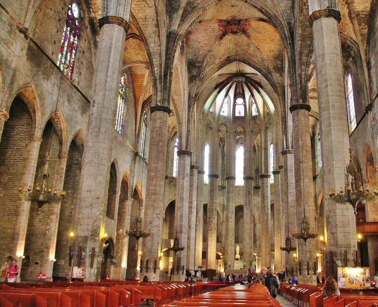 Nave De La Basílica De Santa María Del Mar En Barcelona Barcelona La Basilica Catedral