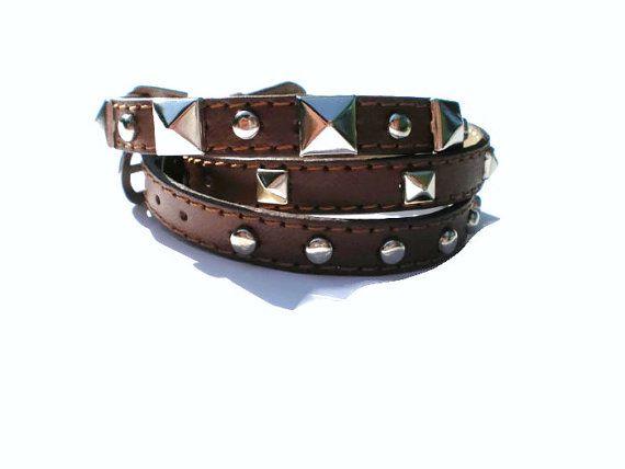 Triple Wrap Bracelet, Leather Wrap Bracelet,  Studded Brown Leather Wrap Wristbands, Buckle Bracelets - 3 Bracelets In 1