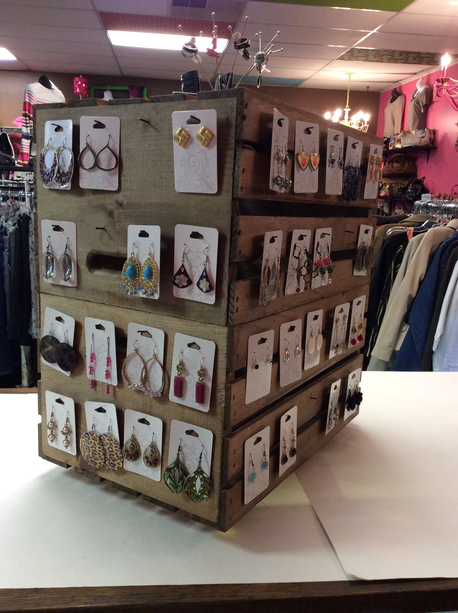 Our New Earring Display Made By Staining Two Wooden Crates