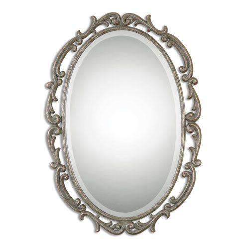 Gwendolen Antique Silver Oval Mirror Uttermost Oval Mirrors Home