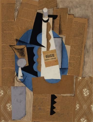 Picasso S La Bouteille De Suze Or Bottle Of Suze Is A Key Image Of The Late Synthetic Cubism Developed By Geor Picasso Collage Pablo Picasso Synthetic Cubism