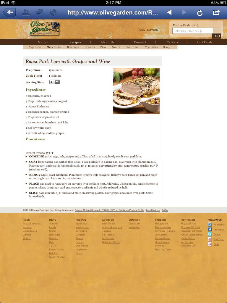 Olive Garden Pork loin roast, Yummy dinners, Dessert pizza