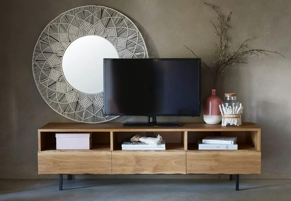 Mobile TV a 3 cassetti in legno massello di quercia (con ...