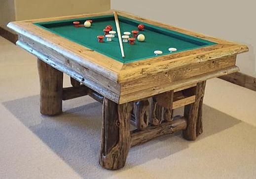 Rustic Bumper Pool Table With Slate Built From Naturally