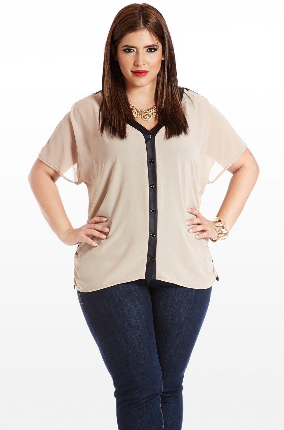 2ea88b03039 Buckle+Down+Sheer+Faux-Leather+Blouse