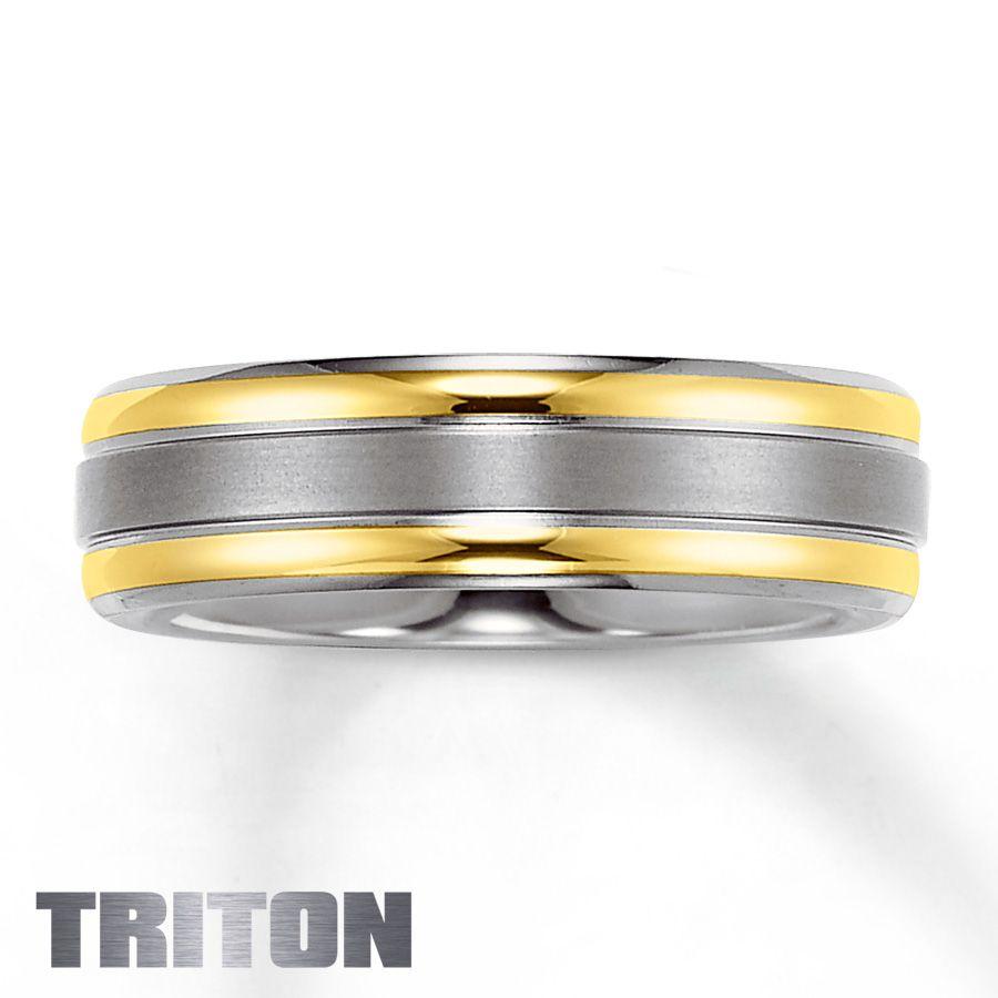 Mens wedding band titanium 18k yellow gold475