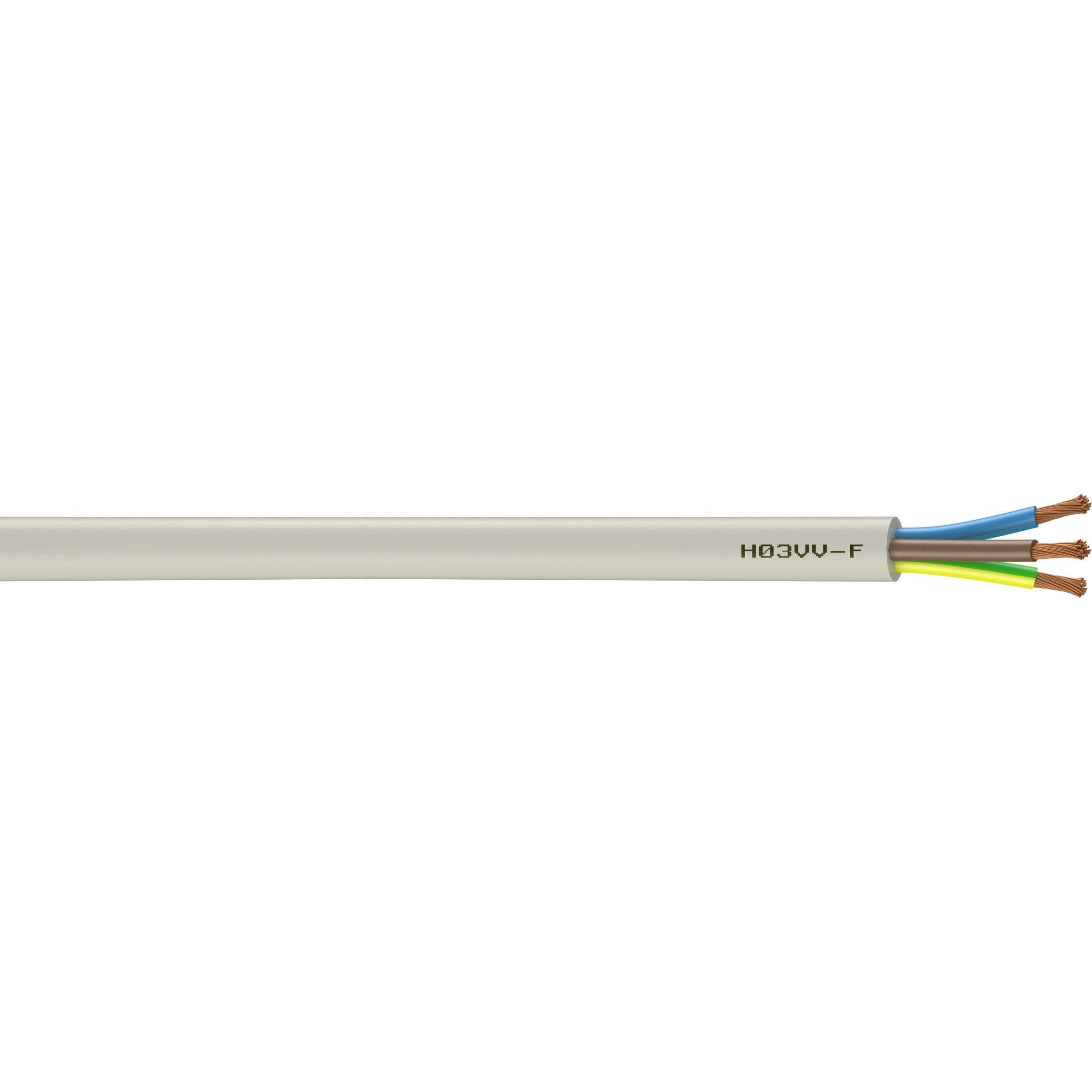Cable Electrique 3 G 0 75 Mm H03vvf L 10 M Blanc Cable Electrique Electrique Et Blanc