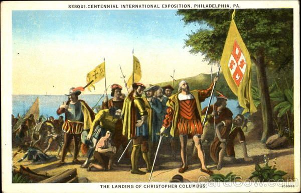Columbus And The Flag Of Spain Vintage Postcard Historical Events History