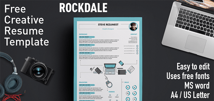 Rockdale  Free Resume Template For Ms Word  Modern  Creative