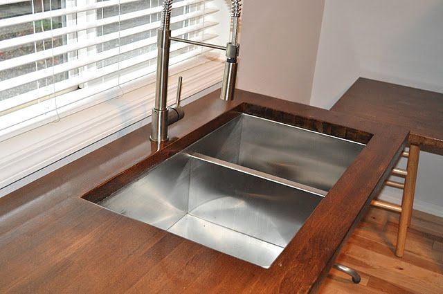 ikea butcher block countertops with faucet   DIY Butcher Block Counter Tops from Ikea. This stain color ...