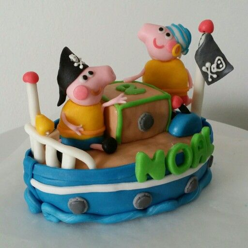 Peppa George Pigs Playing Pirate Cake Topper Made Of Homemade Mmf N Rice Krispies Core Happy Birthday Little Noal