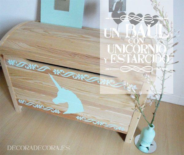 Decorar un ba l con estarcido y un unicornio pintado - Como decorar un baul de madera ...