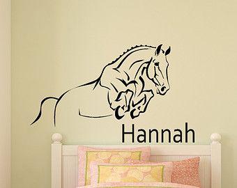 Horse decal, barrel racer wall sticker, girls bedroom name ...