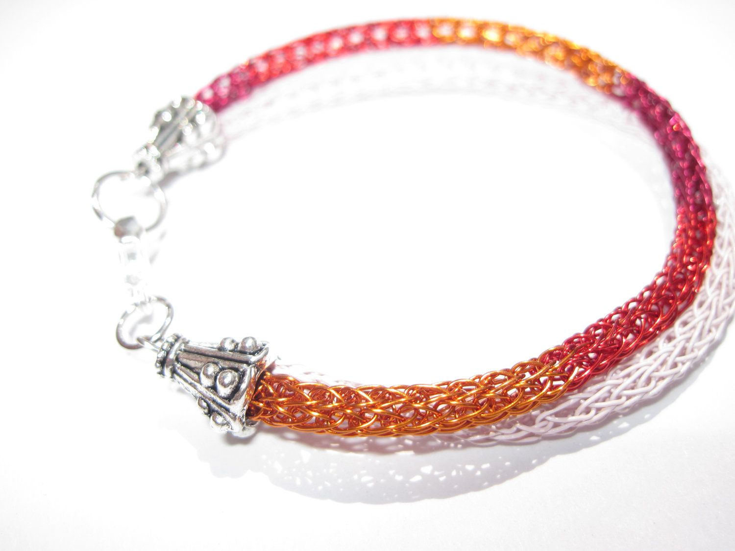 Red, Pink and Orange Bracelet in Viking Knit Woven Wire, Double ...