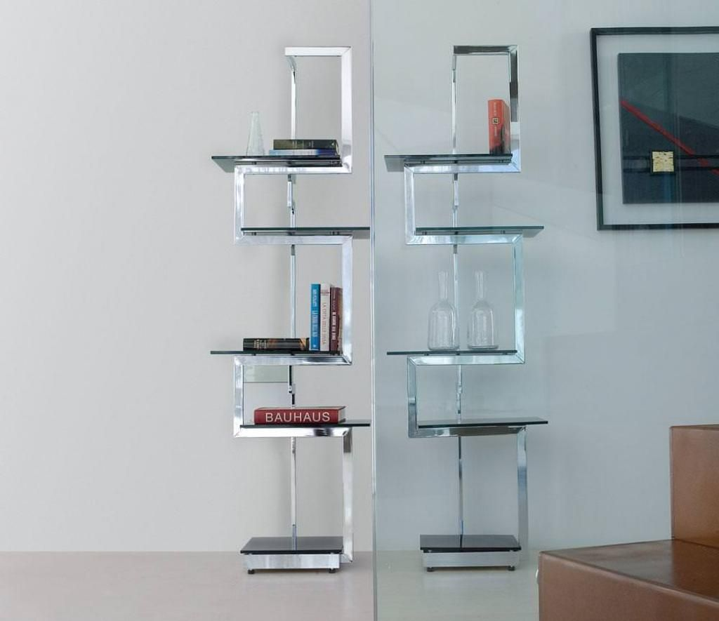 modern-standing-metal-based-bookcase-with-black-glass-shelves-with ...