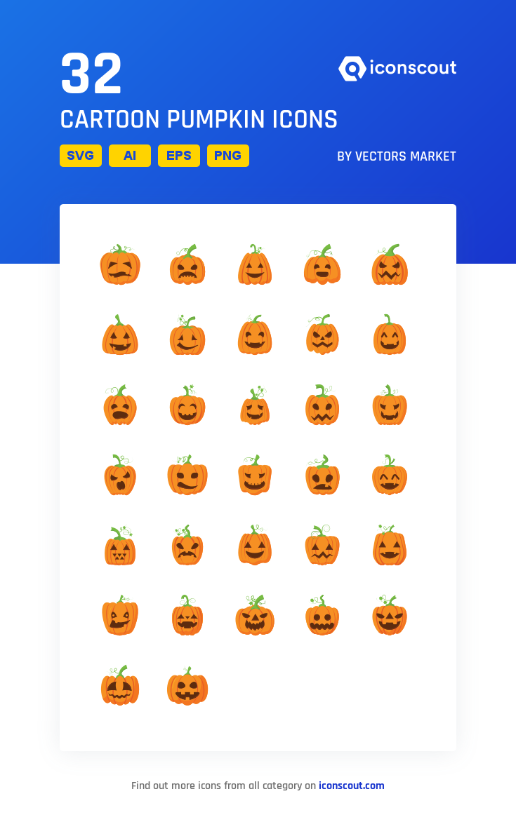 Download Cartoon Pumpkin Icon pack Available in SVG, PNG