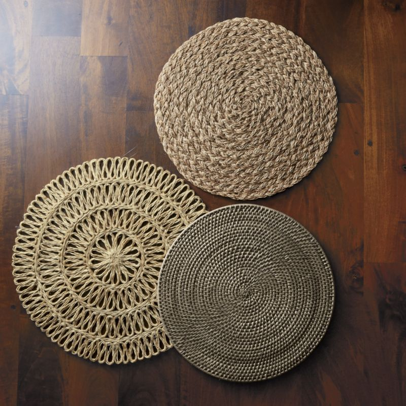 Bali Dark Woven Round Placemat Reviews Crate And Barrel Woven Placemats Macrame Wall Hanging Baskets On Wall