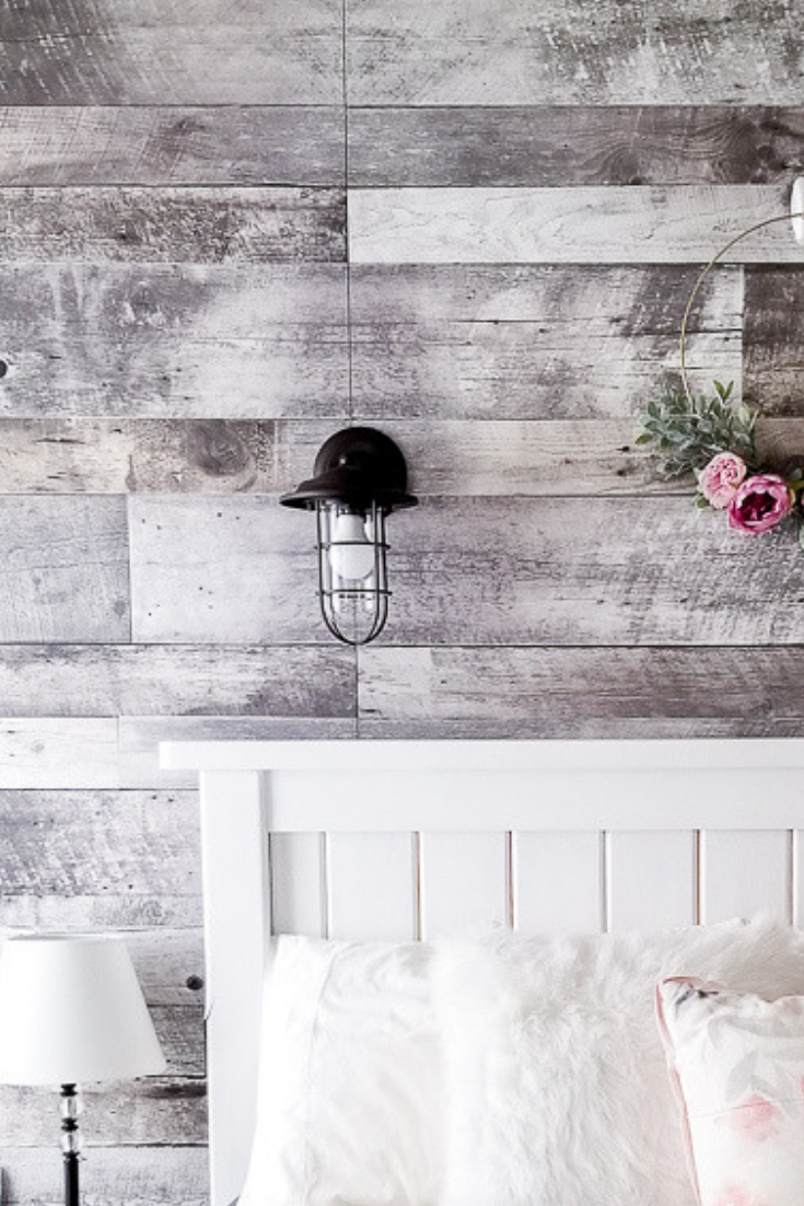 Diy Faux Wood Bedroom Feature Wall Woodfeaturewalls In 2020 Feature Wall Bedroom Faux Wood Wall Wood Accent Wall Bedroom