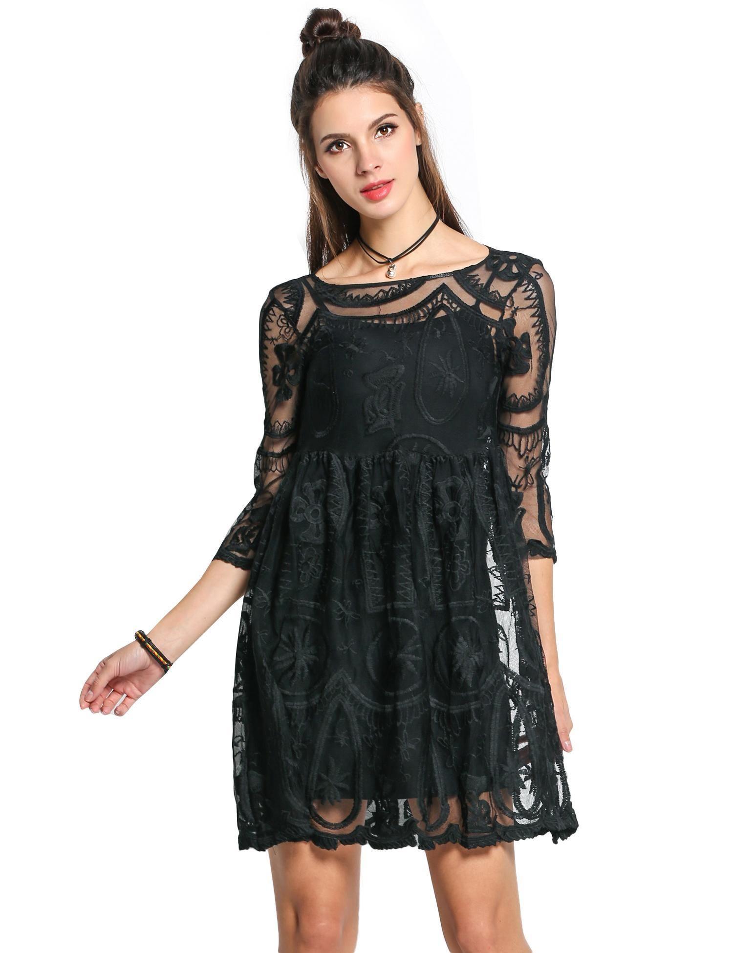 Zeagoo negro mujer manga 3 4 Crochet encaje vestido transparente  dresslink.com 31bfbed5e0cb