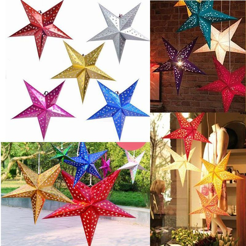 Paper star lanterns reve collective for the home pinterest 12 inch shiny star paper lampshade lanterns flower party decor craft for wedding decoration colorful aloadofball Gallery