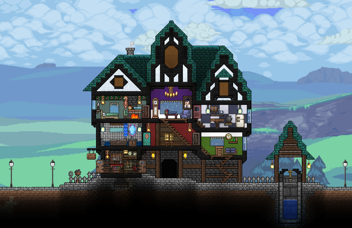 Today I Built This Little Cottage With Workshop At First Floor Made Everything To Live Comfortable With A F Terraria House Design Building Terrarium Workshop