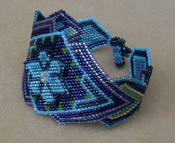 Native American Beaded Bracelet in Blues Turquoise by jstinson, Joni Stinson, Muscogee Creek on Etsy